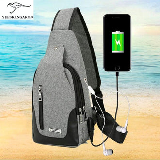 Multifunction USB charging  man shoulder chest chest Bag Mens leisure bag fashion Satchel Oxford waterproof cloth