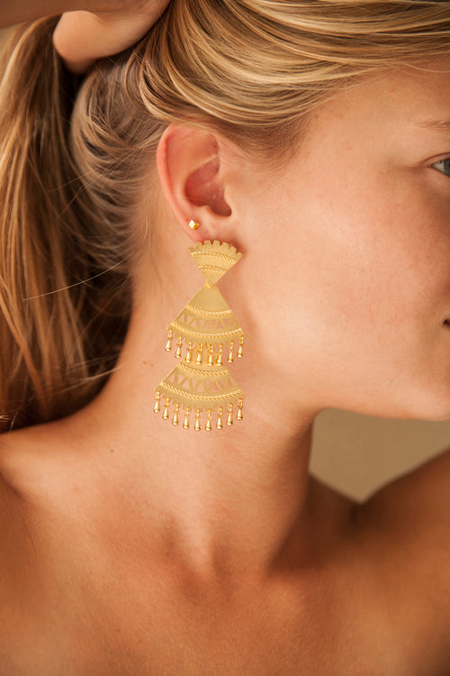 Abanico Triple Earrings