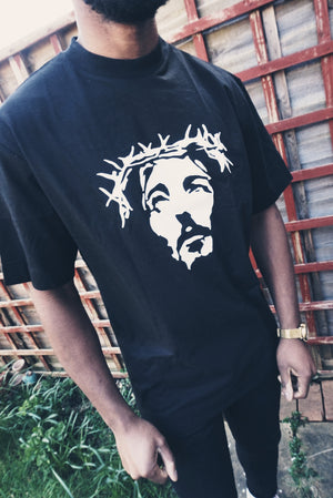 THE SAVIOUR Unisex Oversized T-Shirt (Black w/ White)