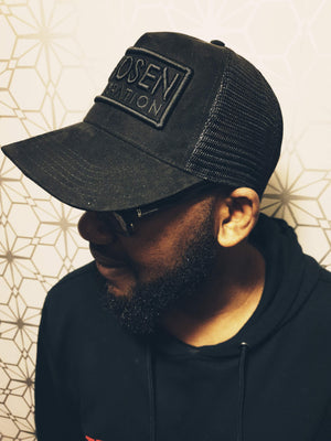 CHOSEN GEN Suede Trucker Black on Black Snapback