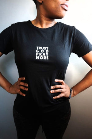 Womens TRUST GOD Fitted Tee (Black)