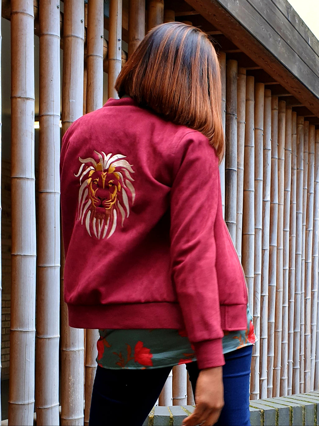 Womens LION OF JUDAH Imitation Suede Bomber Jacket (Red)