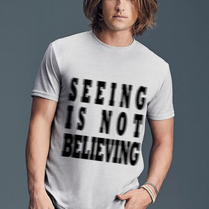 Mens SEEING IS NOT BELIEVING Curved hem T-Shirt S/S