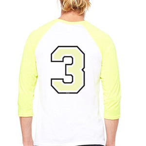 Mens No3 Baseball Contrast 3/4 sleeve T-Shirt
