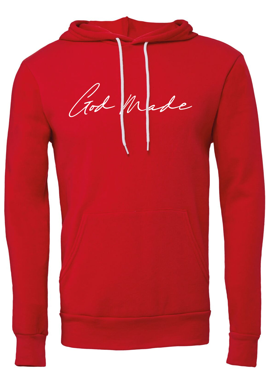 GOD MADE Unisex polycotton fleece pullover hoodie (Red)