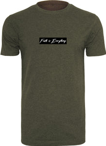FAITH IS EVERYTHING BLACK CENTER CREW NECK T-SHIRT (OLIVE)