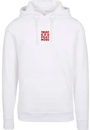 TRUST GOD Pullover Hoodie (White w Red Text)