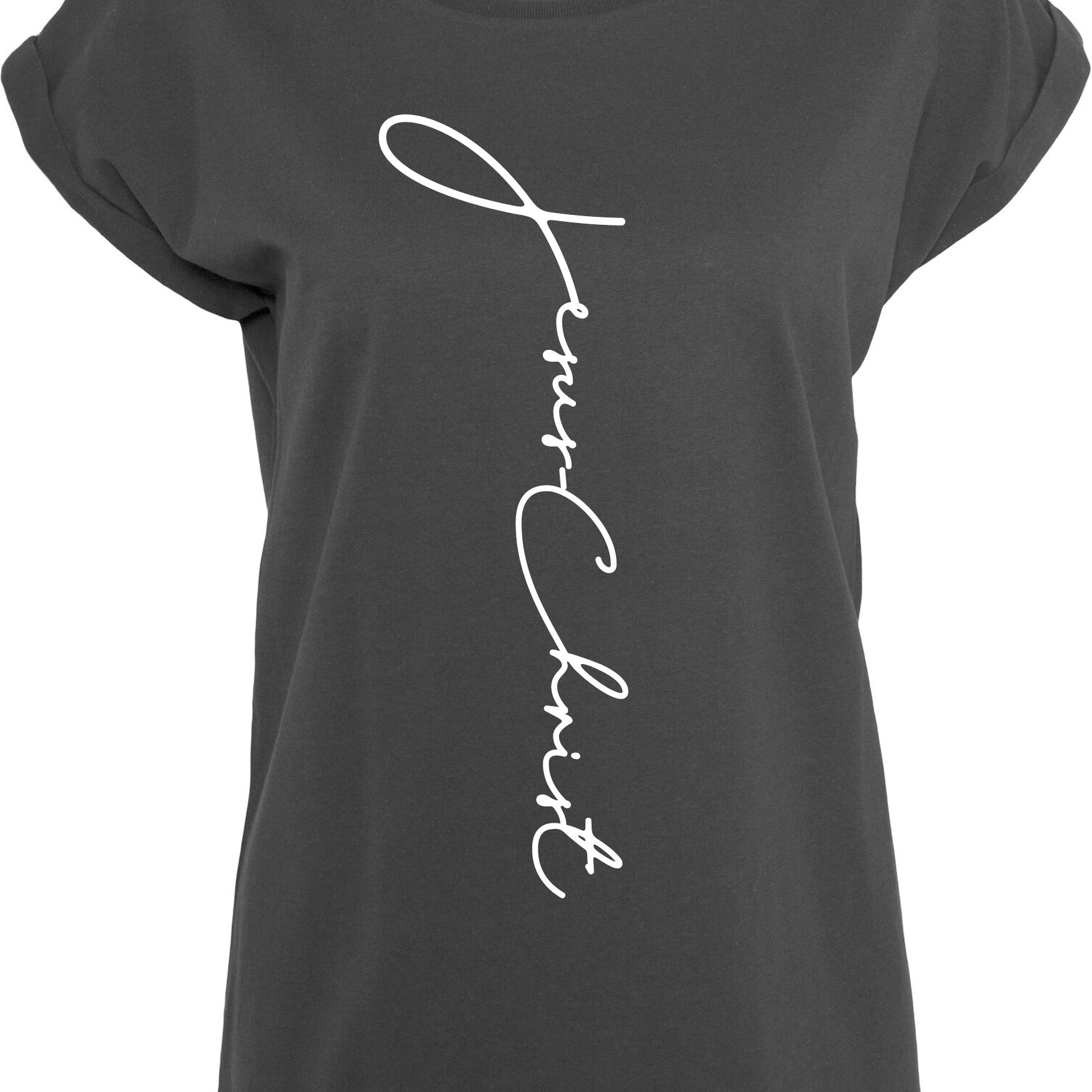Womens JC extended shoulder Longline T-shirt S/S