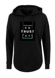 Women's TRUST GOD Print Oversized Hoodie (Black)
