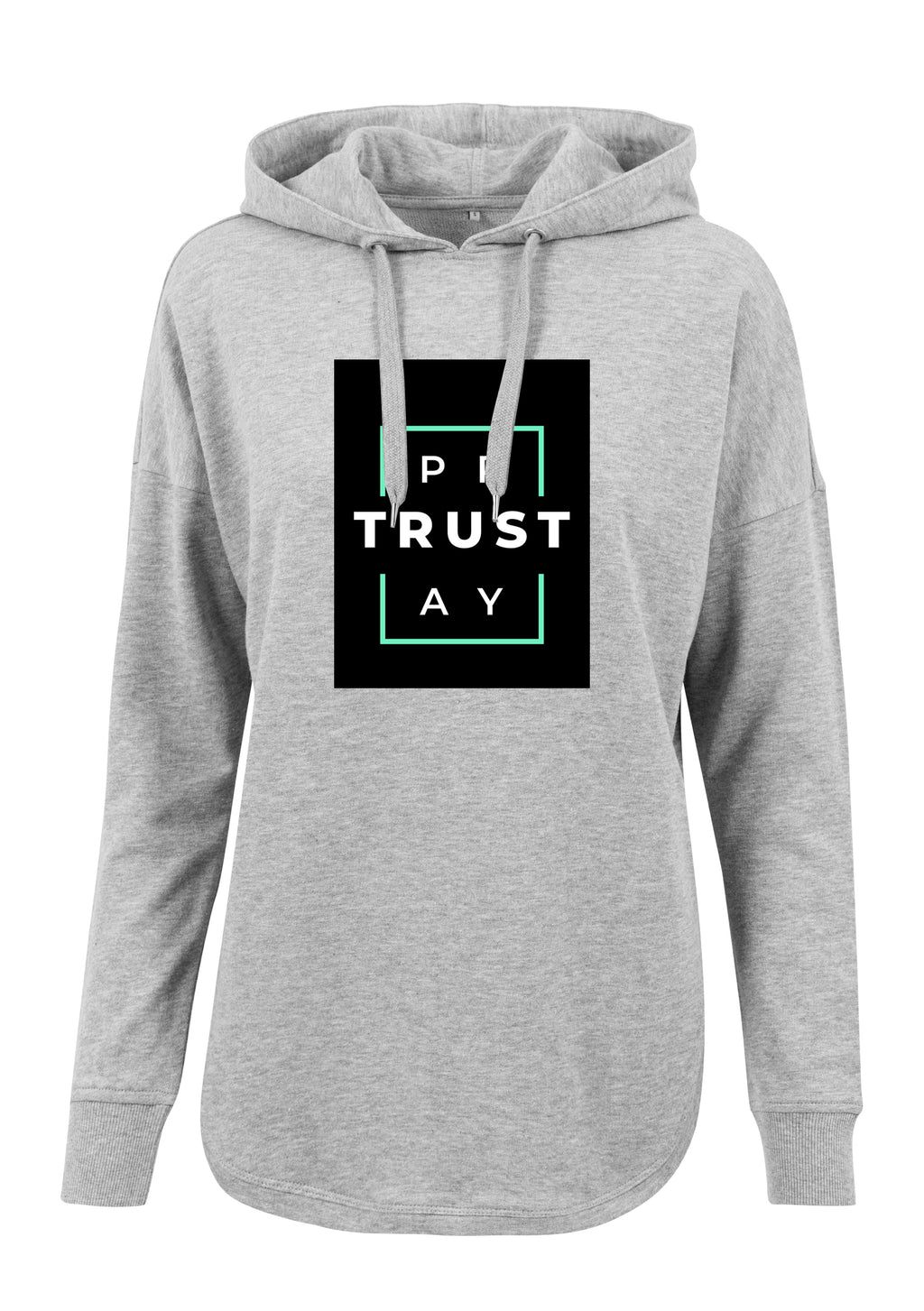 Women's TRUST GOD Print Oversized Hoodie (H.Grey)