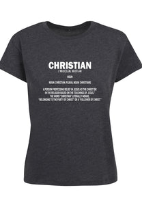 Womens DEFINE CHRISTIAN Boxy Tee (Charcoal)