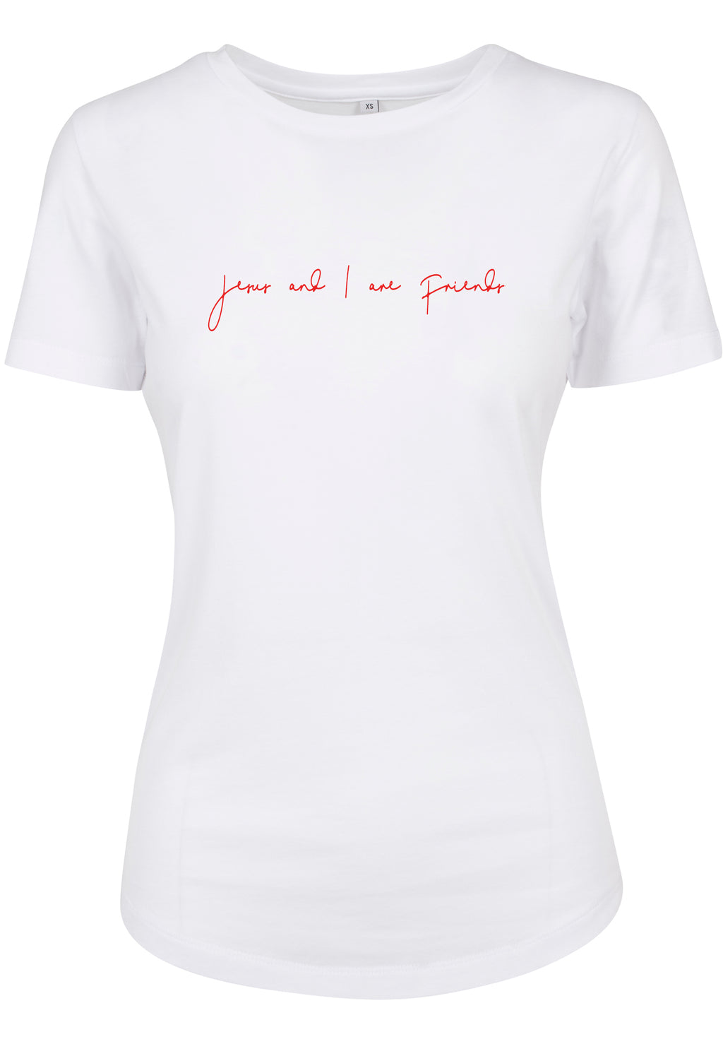 Womens JESUS AND I Fitted Tee (White with Red)