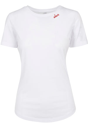 Womens ALIVE Fitted Tee (White)