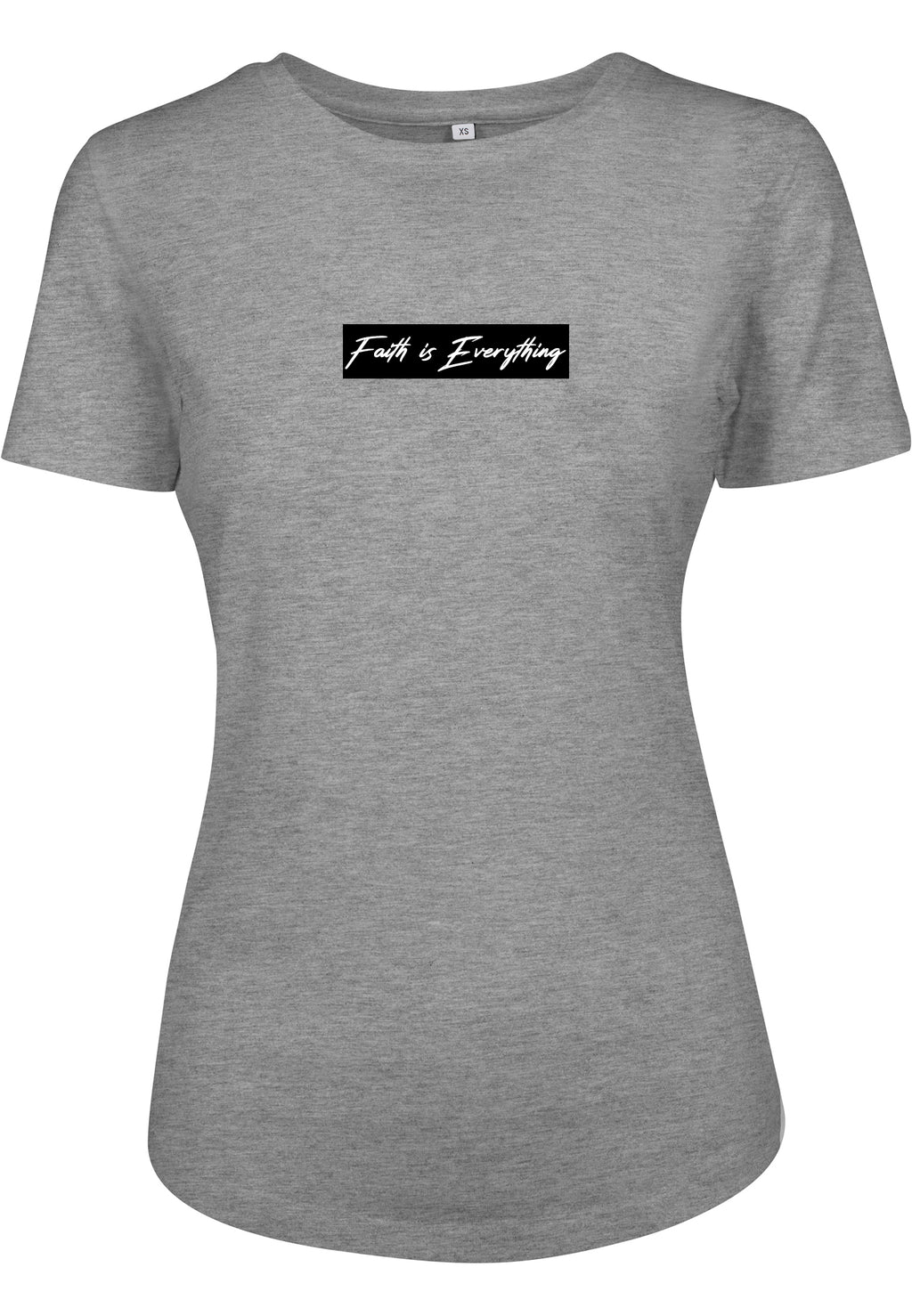 Women's FAITH IS EVERYTHING BLACK FITTED T-SHIRT (H.Grey)