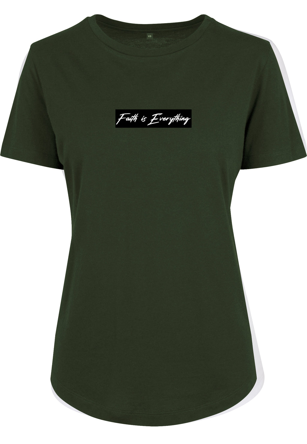 Women's FAITH IS EVERYTHING BLACK FITTED T-SHIRT (Olive)