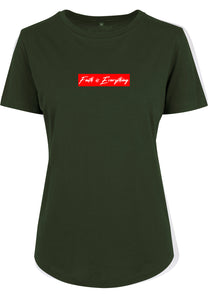 Women's FAITH IS EVERYTHING FITTED T-SHIRT (Olive)