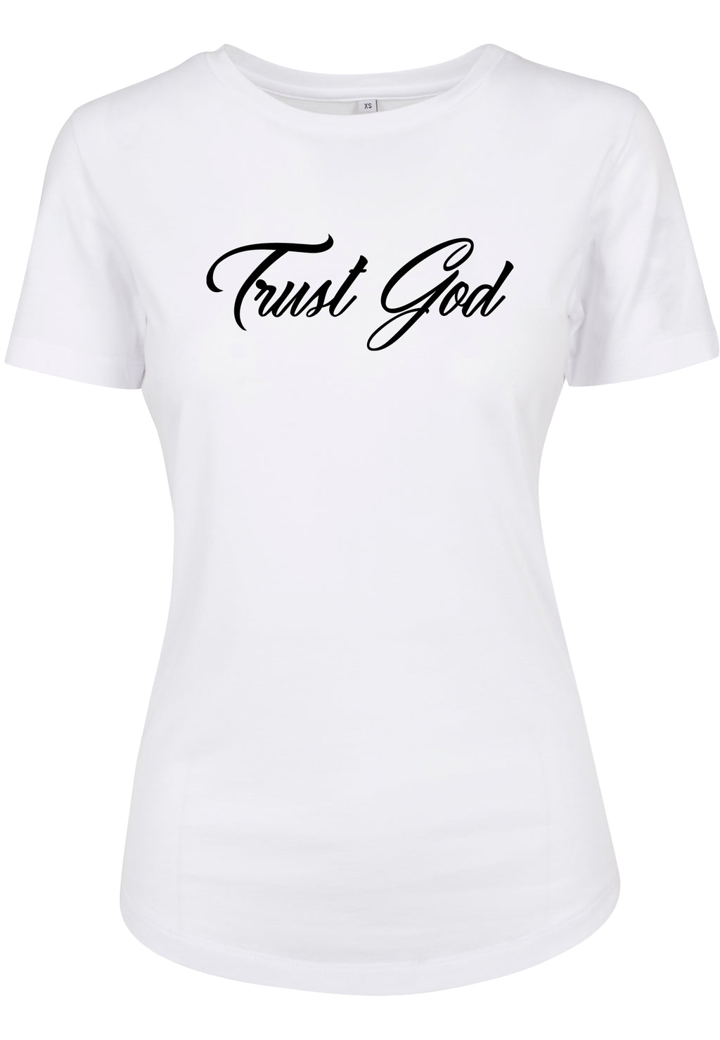 Womens TRUST GOD Bold Cursive Fitted Tee (White)