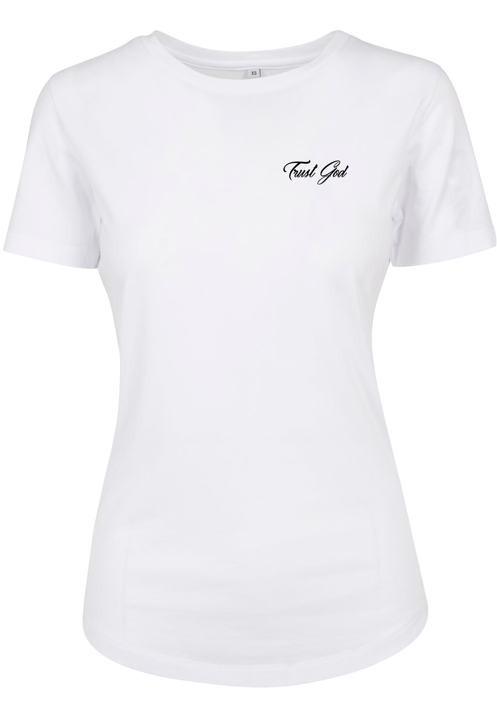 Womens TRUST GOD Cursive Fitted Tee (White)