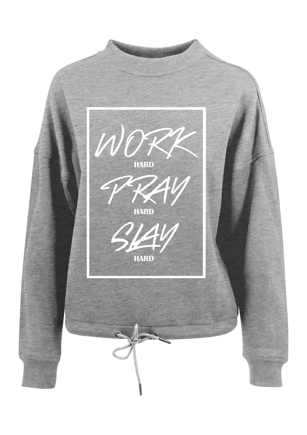 Womens WORK PRAY SLAY oversized crew neck sweatshirt (Heather Grey)