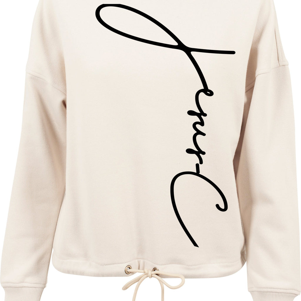Womens JC oversized crew neck sweatshirt