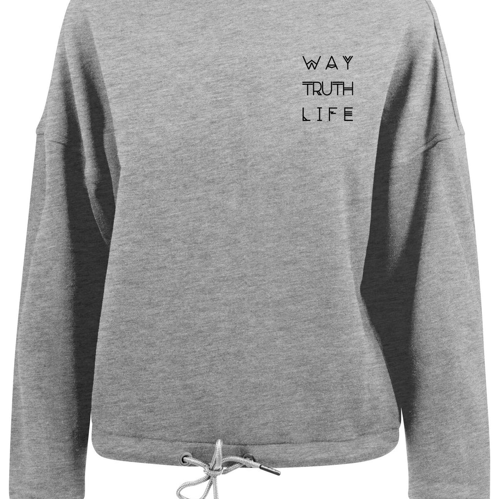 Womens WAY TRUTH LIFE oversized crew neck sweatshirt (Heather Grey)