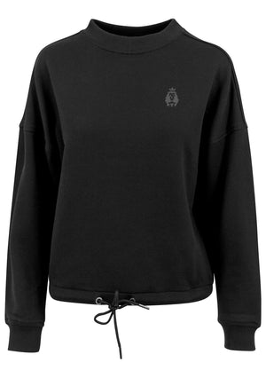 Women's LION AND LAMB Oversized Crew Neck Sweatshirt (Black)
