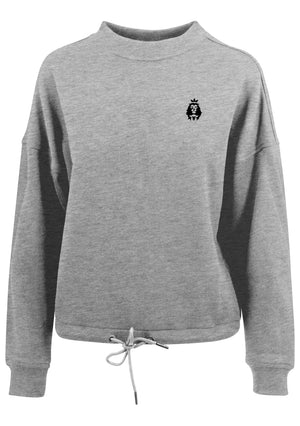 Women's LION AND LAMB Oversized Crew Neck Sweatshirt (Grey)