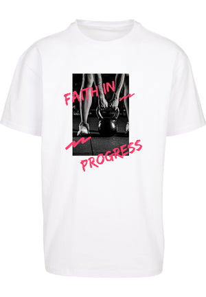 UNISEX FAITH IN PROGRESS OVERSIZE T-SHIRT (WHITE)
