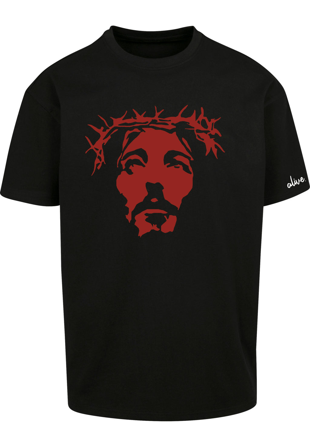 THE SAVIOUR Oversized T-Shirt (Black with Red)
