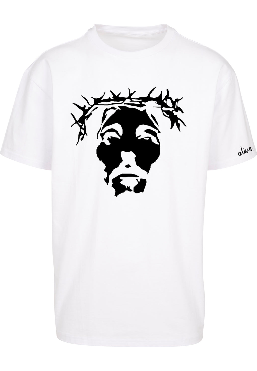 THE SAVIOUR Unisex Oversized T-Shirt (White w/ Black)