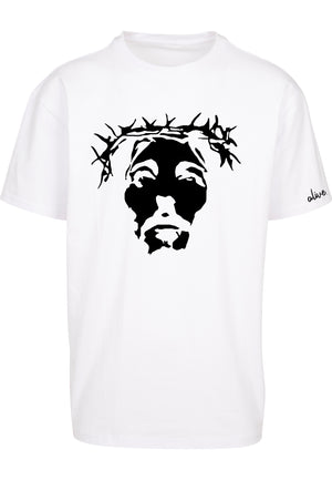 THE SAVIOUR Oversized T-Shirt (White with Black)