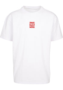 TRUST GOD Unisex Oversized T-Shirt (White w Red text)
