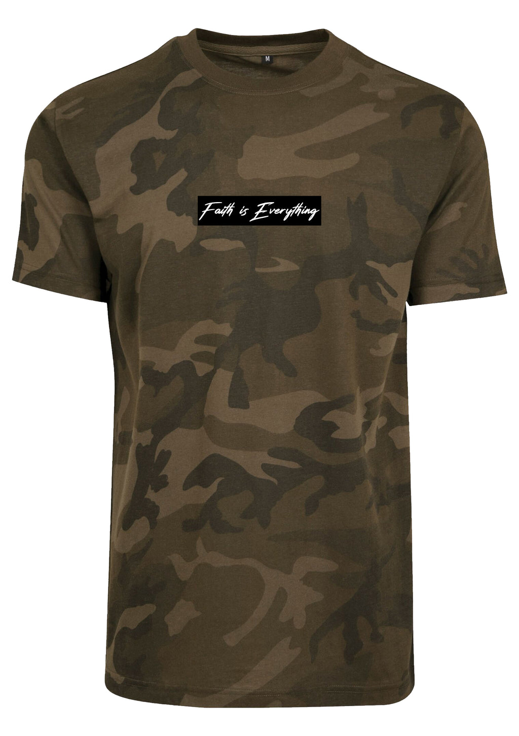 FAITH IS EVERYTHING UNISEX CAMO ROUND NECK T-SHIRT (BLACK)