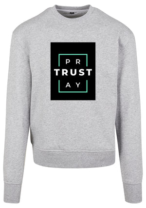Men's TRUST GOD Print Sweatshirt (H.Grey)