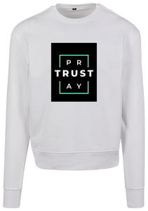 Men's TRUST GOD Print Sweatshirt (White)