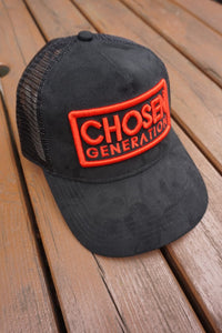 CHOSEN GEN Suede Trucker Snapback (Black and Red)
