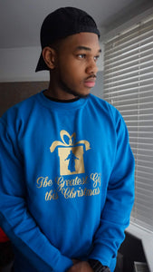 "Unisex ""GREATEST GIFT"" CHRISTMAS SWEATSHIRT (BLUE)"