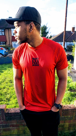 Mens TRUST GOD Embossed Sleeve T-Shirt (Red)