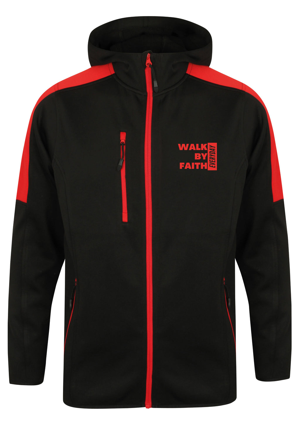 WALK BY FAITH EVERYDAY Unisex Active Soft shell Jacket (Red)