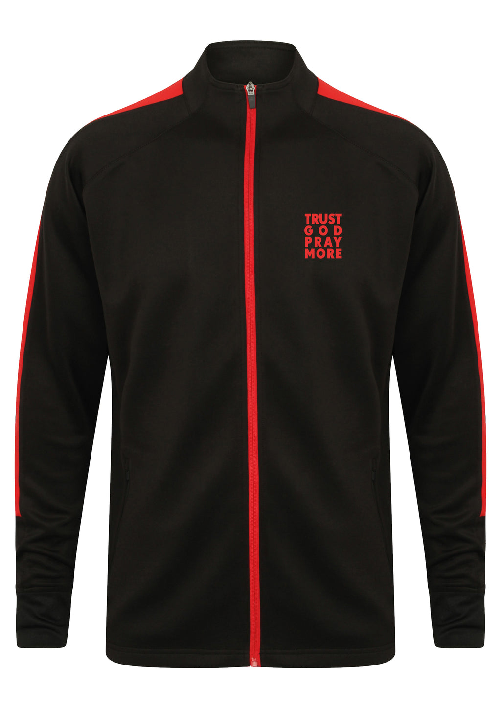 TRUST GOD PRAY MORE Unisex Knitted tracksuit Jacket (Red)