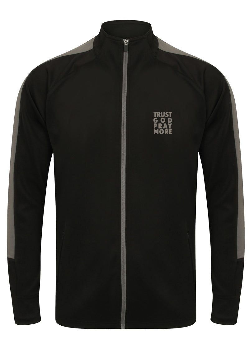TRUST GOD PRAY MORE Unisex Knitted tracksuit Jacket (Gunmetal)