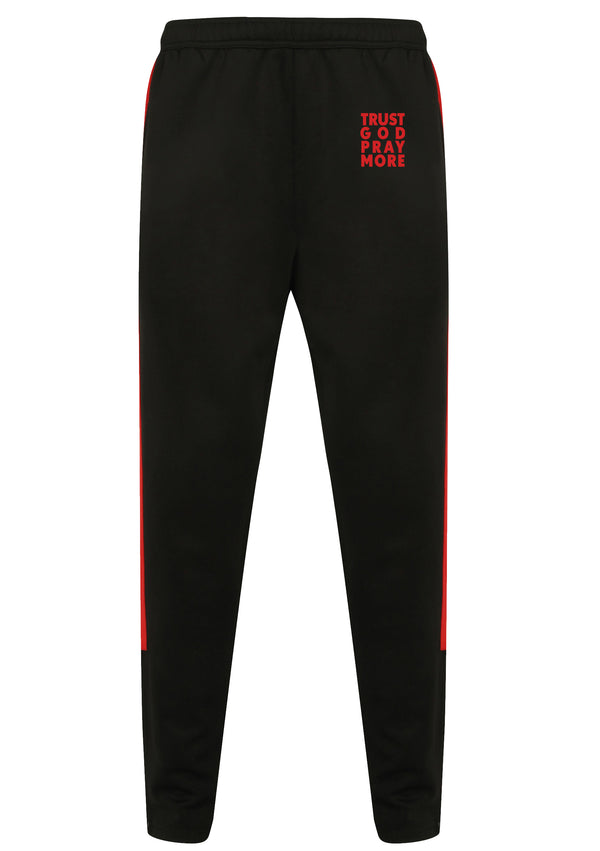TRUST GOD PRAY MORE Unisex Knitted tracksuit pants (Red)