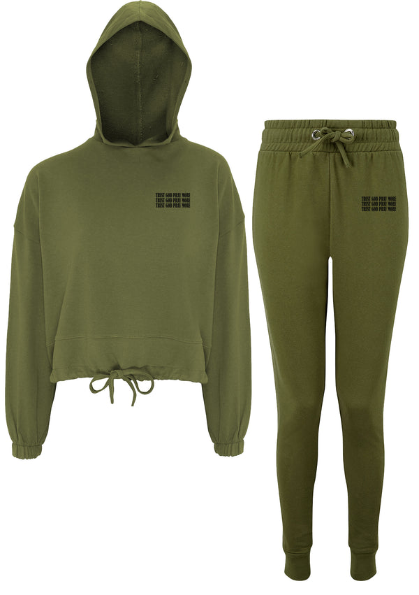 Women's Trust God Olive Lounge Set