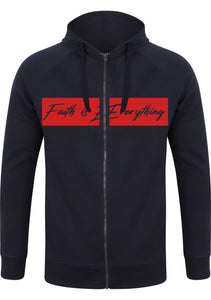FAITH IS EVERY THING UNISEX slim-fit zip-through hoodie (NAVY)