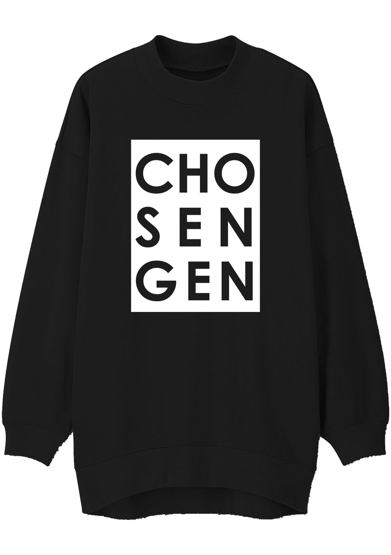 Unisex CHOSEN GEN BOX Print Mock Neck Relaxed Sweatshirt (Black)