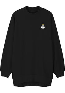 Unisex LION LAMB Mock Neck Relaxed Sweatshirt (Black)