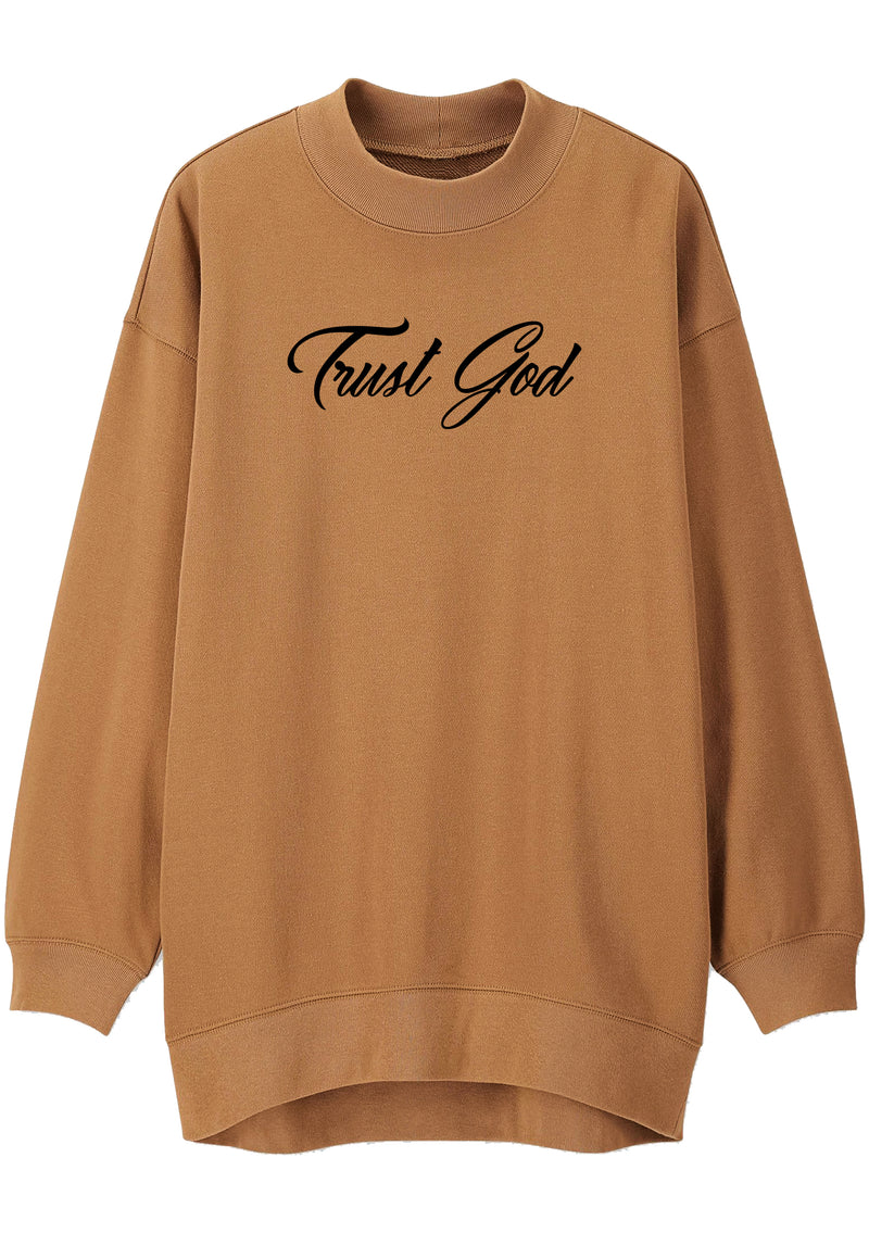 TRUST GOD Mock Neck Relaxed Sweatshirt (Camel)