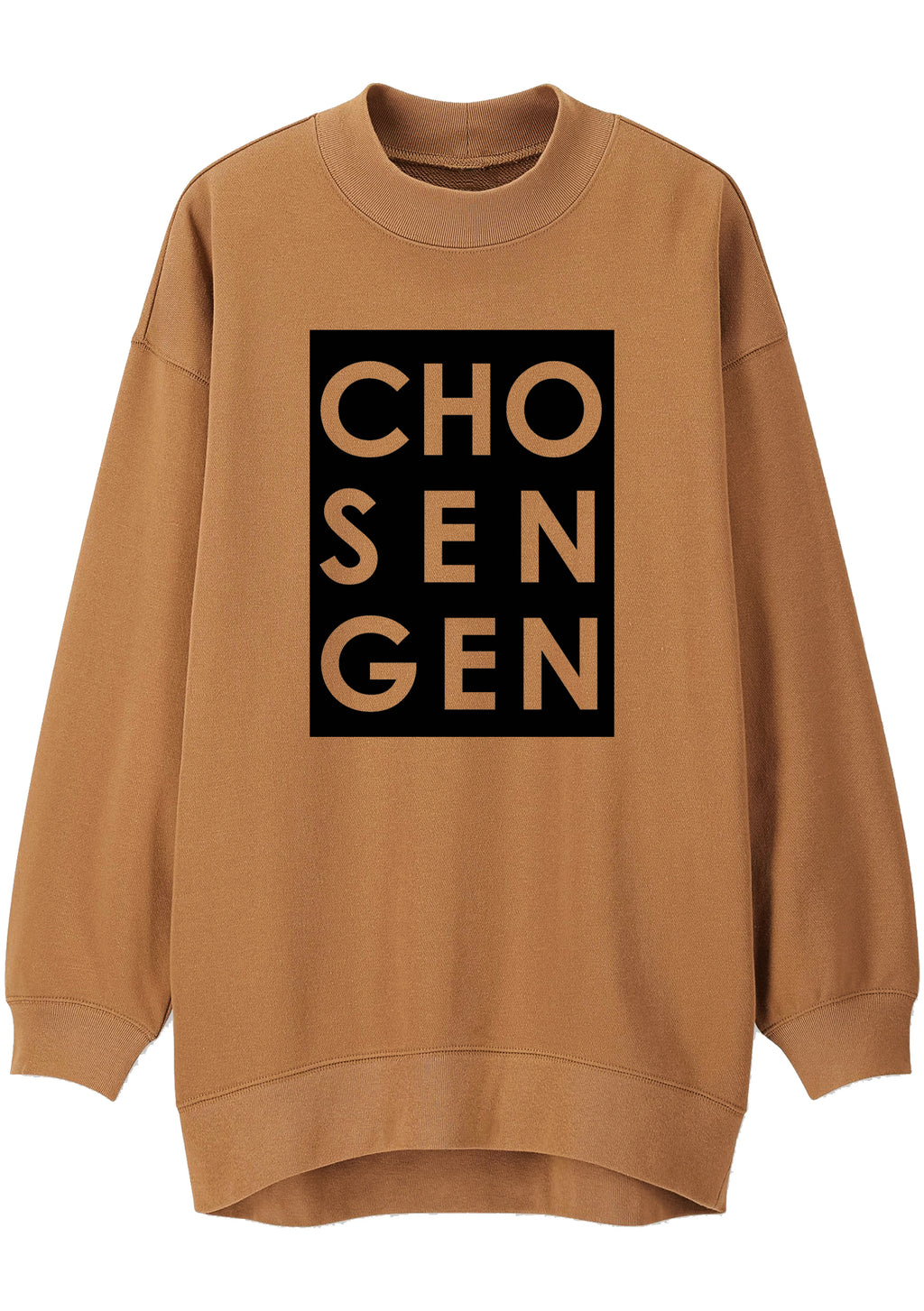 Unisex CHOSEN GEN BOX Print Mock Neck Relaxed Sweatshirt (Camel)