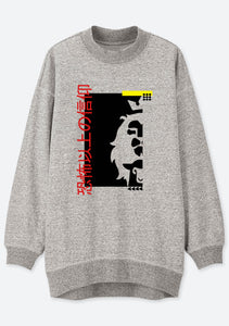 Unisex Japanese FAITH OVER FEAR PRINT Mock Neck Relaxed Sweatshirt (H.Grey)