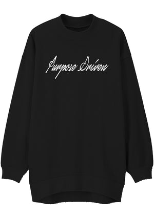 Unisex PURPOSE DRIVEN Print Mock Neck Relaxed Sweatshirt (Black)